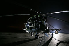 Russian military helicopters, night Stock Images