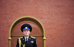 Russian Military Honor Guard at the Tomb of the Unknown Soldier, Kremlin, Russian. A stern-faced Russian Army guard stands sentry at the Tomb of the Unknown Stock Photography