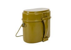 Russian Military issued cooking pot. On white background Royalty Free Stock Photos
