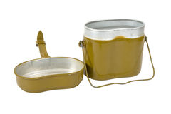 Russian Military issued cooking pot. On white background Royalty Free Stock Photography