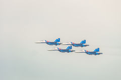 Russian military jet fighters su-30 sm Flanker-C. Flight of the aerobatics group `Russian Knights`. Stock Image