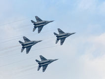 Russian military jet planes in sky Stock Photography