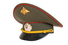 Russian Military Officer Cap. On white background Stock Photos