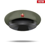 Russian Military officer peaked cap with red star Royalty Free Stock Images