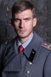 Russian military officer. Portrait of Russian military officer in greatcoat Stock Photo