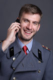 Russian military officer. Portrait of Russian military officer in greatcoat Stock Photography
