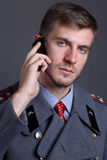 Russian military officer. Portrait of Russian military officer in greatcoat Royalty Free Stock Images