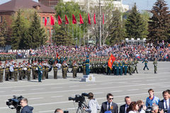 Russian military orchestra march at the parade on annual Victory Royalty Free Stock Image