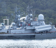 Russian military ship on Pacific ocean Stock Image