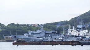 Russian military ship on Pacific ocean Stock Photos
