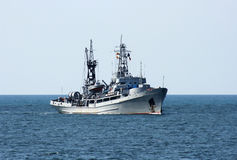 Russian military ship at sea Stock Photo