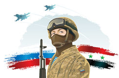Russian military. Russian special forces soldier and kalashnikov on the background of the Russian and Syria flag, and the russian military fighters Stock Image