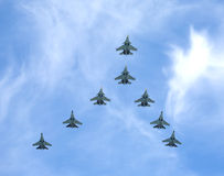 Russian military supersonic fighters SU-30SM and SU-35S Flanker in flights Stock Photography