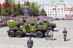 Russian military transport at the parade on annual Victory Day, Stock Photos