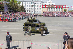 Russian military transport at the parade on annual Victory Day Royalty Free Stock Photos