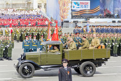 Russian military transport at the parade on annual Victory Day Stock Image