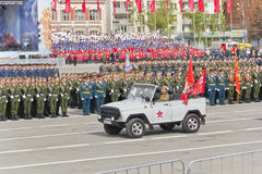 Russian military transport at the parade on annual Victory Day Stock Photo