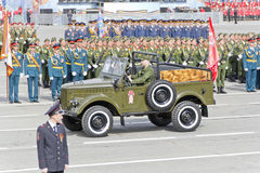 Russian military transport at the parade on annual Victory Day. Samara, Russia - May 9: Russian military transport at the parade on annual Victory Day, May, 9 royalty free stock image