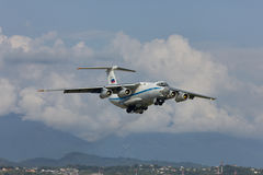 Russian military transport plane takes off. Russian military transport aircraft Ilyushin IL-76MD takes off from Adler city airport. Date of photographing 09.08 royalty free stock photos