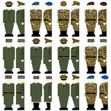 Russian military uniforms of soldiers and officers Stock Images