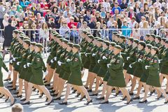 Russian military women are marching at the parade on annual Vict. SAMARA, RUSSIA - MAY 9, 2016: Russian military women are marching at the parade on annual Royalty Free Stock Photo
