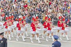 Russian military women orchestra march at the parade on annual V Royalty Free Stock Images