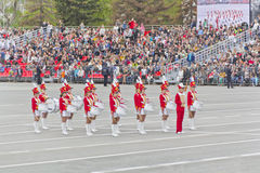 Russian military women orchestra march at the parade on annual V Stock Photo
