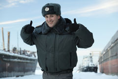 Cheerful russian policeman with a smile on his face stock photos