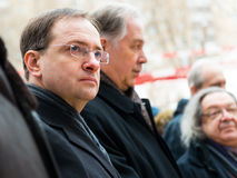 Russian Minister of Culture V. Medinsky. MOSCOW - JANUARY 27, 2015: Russian Minister of Culture Vladimir Medinsky (left) is present at a ceremony marking the royalty free stock photos