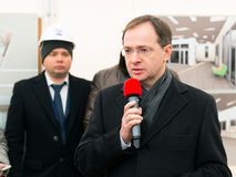 Russian Minister of Culture V. Medinsky. MOSCOW - JANUARY 27, 2015: Russian Minister of Culture Vladimir Medinsky speaks at a ceremony marking the start of royalty free stock photography