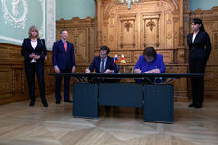 Russian Minister of culture Vladimir Medinsky and Minister of culture of South Ossetia Madina Ostayeva Stock Photography