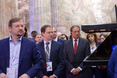 Russian Minister of Culture Vladimir Medinsky opened the exhibition Territory Of Culture. St. Petersburg, Russia - December 14, 2015: Russian Minister of Culture stock photography
