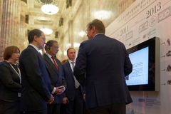 Russian Minister of Culture Vladimir Medinsky opened the exhibition Territory Of Culture. St. Petersburg, Russia - December 14, 2015: Russian Minister of Culture royalty free stock images