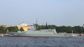 Russian missile corvette `Boiky` stock video footage