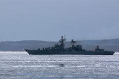 Russian Missile Cruiser In The Frozen Sea Royalty Free Stock Photos