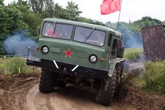 Russian missile launcher tractor. BELTRING, UK - JULY 26: An ex Russian army cold war missile tractor heads around the main show arena for the public to view at Royalty Free Stock Photo
