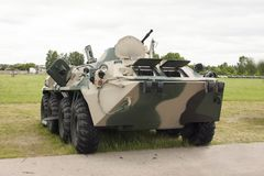 Russian modern armored personnel carrier with camouflage paint royalty free stock photography