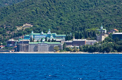 Russian monastery on a coast of aegean sea below the holy mountain Athos Royalty Free Stock Images