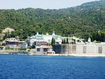 Russian monastery at the coast in Greece Royalty Free Stock Image