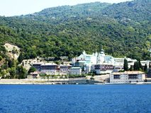Russian monastery at the coast in Greece Royalty Free Stock Photography