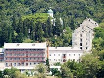 Russian monastery at the coast in Greece Stock Photo