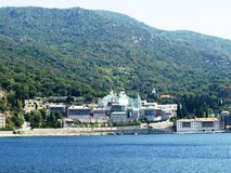 Russian monastery at the coast in Greece Royalty Free Stock Photos