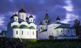 Russian monastery in evening Royalty Free Stock Images