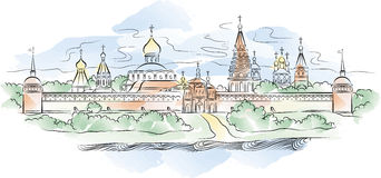 Russian Monastery and river, vector illustration Royalty Free Stock Image