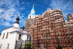 Russian Monastery under Construction. Building of The Transfiguration of the Savior Cathedral in Valaam island in Russia, under construction Stock Images