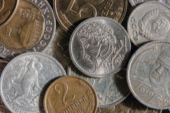 Russian monetary coins. Russian coins of the 20th century, reflecting the historical events Royalty Free Stock Images