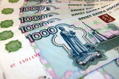 Russian Money. Photo of thousand rubles banknotes on the table Royalty Free Stock Photography