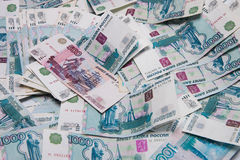 Russian money. The Russian rubles much money stock photos