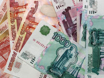 Russian money. Russian  big money. 5000, 1000, 500 roubles Royalty Free Stock Photos