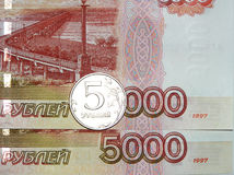 Russian money. 5 on 5000 roubles Royalty Free Stock Images